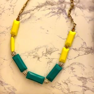 J.Crew Neon Rectangles and Crystal Stones Necklace